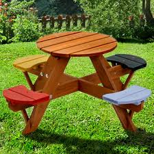 Table Gratifying Round Picnic Table Woodworking Plans Famous by 8 Seater Round Picnic Table Gallery Table Design Ideas