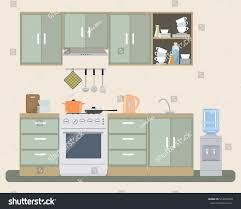kitchen provence color there furniture stove stock vector