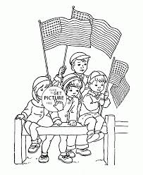 kids with flags of america coloring page for kids coloring pages