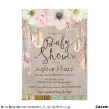boho baby shower invitation tribal feather rustic 5x7 paper
