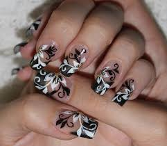 nail design nail design flower with black u0026 white swirls nail art