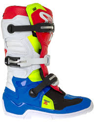 alpinestars tech 7 motocross boots alpinestars blue white red fluorescent tech seven s kids mx boot