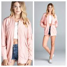 light bomber jacket womens clmayfae jackets coats last1 light pink bomber jacket poshmark