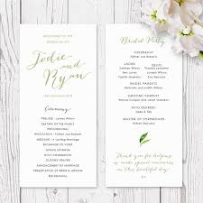 printed wedding programs rustic wedding program or order of service cover with watercolour