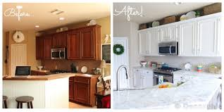 Before And After Kitchen Cabinet Painting How To Paint Your Cabinets Like The Pros And Get The Grain Out