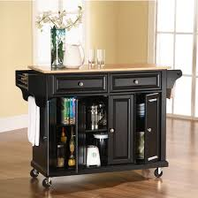 crosley butcher block top kitchen island crosley furniture wood top kitchen cart or island in black