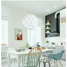 discount white round flower ball pendant light nordic simple