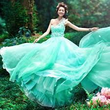 green wedding dress green princess wedding dress with one shoulder sang maestro