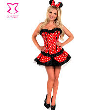 2251 red white polka dot corset tutu skirt cosplay minnie