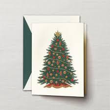 engraved christmas tree greeting card crane com