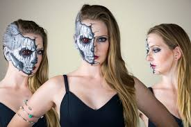 half face halloween makeup ideas cracked skull face paint tutorial youtube