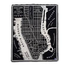 Soho Nyc Map City Map Throw Merino Wool Blanket Uncommongoods