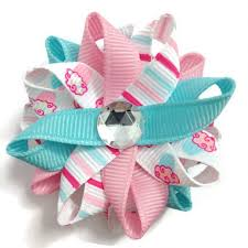 handmade hair bows pink blue cupcake stripes small hair bow set handmade birth