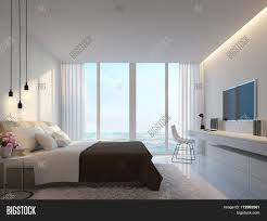 Modern White Furniture Bedroom Modern White Bedroom With Sea View 3d Rendering Image Decorated
