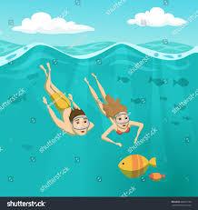 swimming underwater summer leisure holidays stock vector