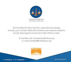 New York City 2017 Event Calendar Justice Served 2018 Food Bank For New York City