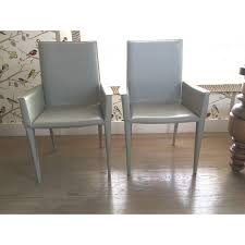 Grey Leather Armchair Dwr Bottega Gray Italian Leather Armchairs Set Of 4 Chairish