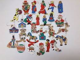 vintage lot 15 flat hand painted double sided wooden christmas