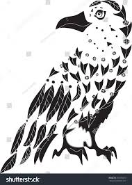 decorative ornamental raven drawing sketch tattoo stock vector