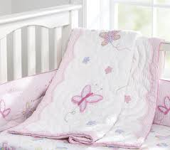 nice pink bedding for pretty baby nursery from prottery barn