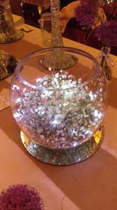 fairy lights and organza in a glass fish bowl lovely soft