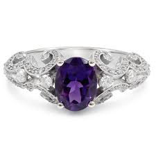 amethyst engagement rings cut amethyst and diamonds antique style engagement ring amt102