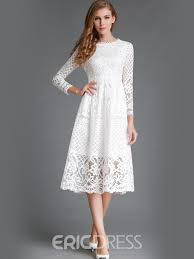 lace dress ericdress soild color three quarter knee length lace dress