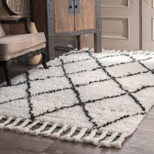 nuloom hand knotted moroccan trellis natural shag wool rug 6 u0027 x 9