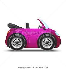cartoon convertible car of a pink convertible economy car in a vector clip art illustration