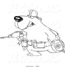 vector of a cartoon handy bear with tools outlined coloring page