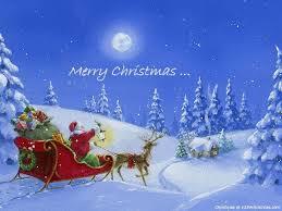christmas santa flying reindeer sleigh wallpapers download