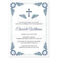 communion invitations blue bloom holy communion invitation with flower corners
