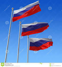 russian flag on a pole against blue sky royalty free stock image