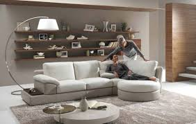 white sofa and cushions also soft carpet also arc floor lamp also