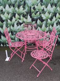 bistro table and chair sets pink pink wrought iron metal garden