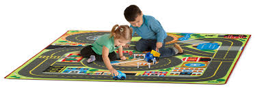 Kids Play Rugs With Roads by Amazon Com Melissa U0026 Doug Jumbo Roadway Activity Rug With 4