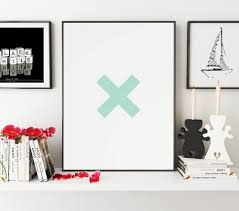Cross Home Decor by Letter X Print Green X Print Typography Poster Cross Art Cross