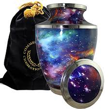 human cremation cosmic universe galaxy burial or funeral cremation urn for