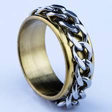 mens spinner rings hot sale new arrival 316l stainless steel gold chain mens spinner