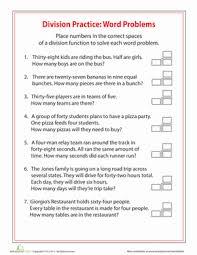4th grade division word problems education com