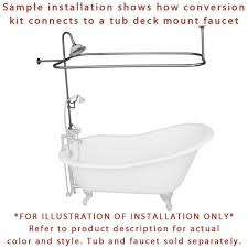 satin nickel clawfoot tub shower conversion kit with enclosure