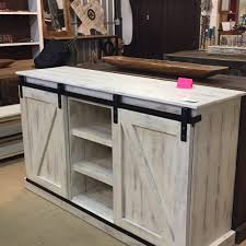 barn door cabinet tv stand white distressed rustic rarehouse