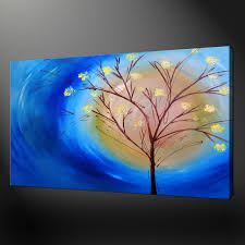 abstract tree blue painting modern design box canvas print 20