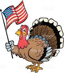 thanksgiving turkey holding american flag stock vector art