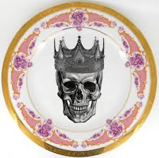 halloween plates pink and gold skull plates steampunk dishes goth skeleton