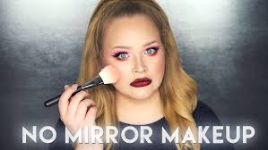 Challenge Nose And No Mirror Makeup Challenge Nikkietutorials