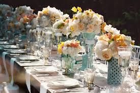 white peach vintage wedding table centerpieces