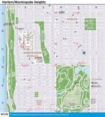 New York City Attractions Map by New York City Map Harlem U0026 Morningside Heights Moon Com