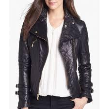 womens motorcycle clothing womens black leather moto jacket biker jacket women rangoli