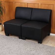 sofa ohne armlehne 2 sitzer sofa lyon kunstleder schwarz ohne armlehnen